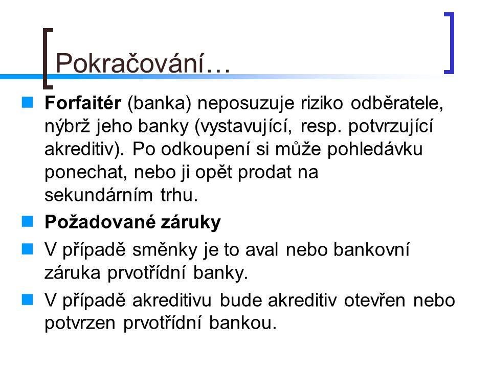 Pokračování… Forfaitér (banka) neposuzuje riziko odběratele, nýbrž jeho banky (vystavující, resp. potvrzující akreditiv). Po odkoupení si může pohledá