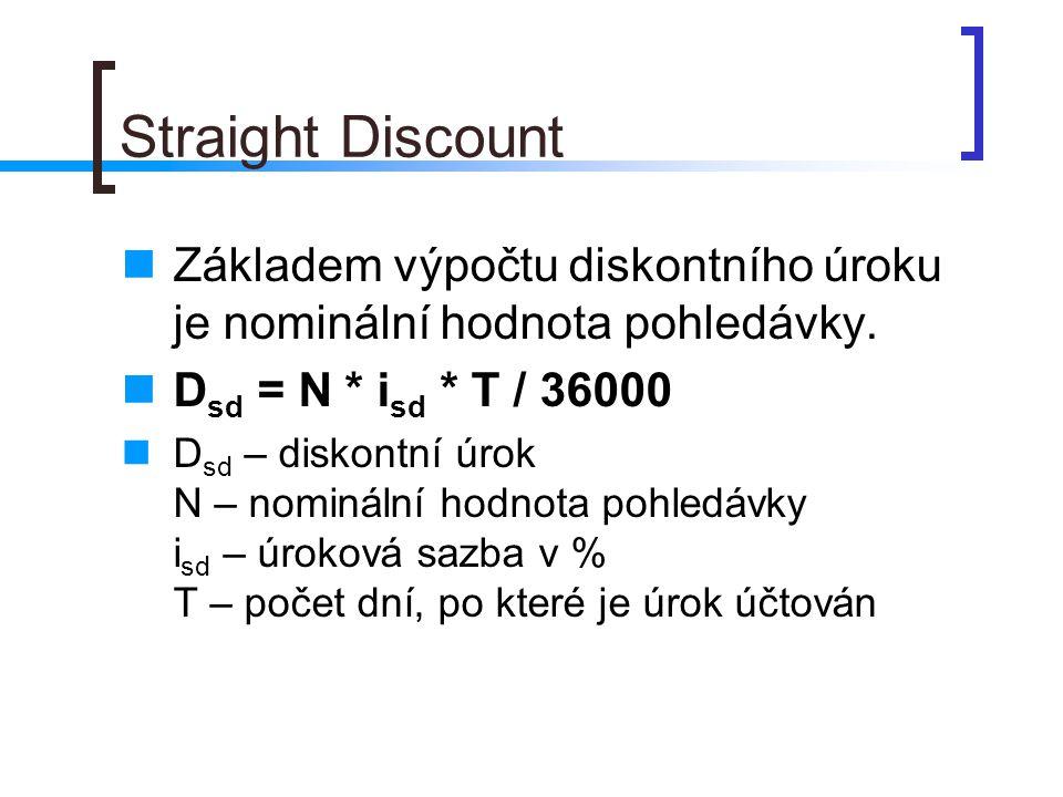 Straight Discount Základem výpočtu diskontního úroku je nominální hodnota pohledávky. D sd = N * i sd * T / 36000 D sd – diskontní úrok N – nominální