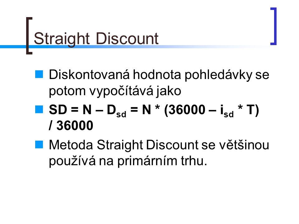 Straight Discount Diskontovaná hodnota pohledávky se potom vypočítává jako SD = N – D sd = N * (36000 – i sd * T) / 36000 Metoda Straight Discount se většinou používá na primárním trhu.
