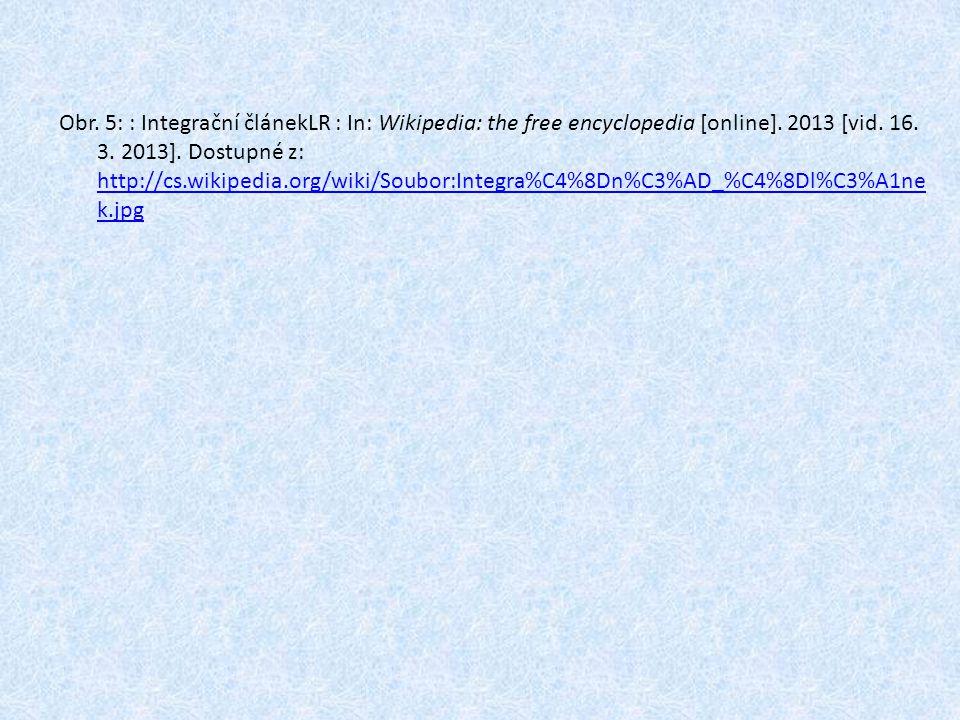 Obr. 5: : Integrační článekLR : In: Wikipedia: the free encyclopedia [online]. 2013 [vid. 16. 3. 2013]. Dostupné z: http://cs.wikipedia.org/wiki/Soubo