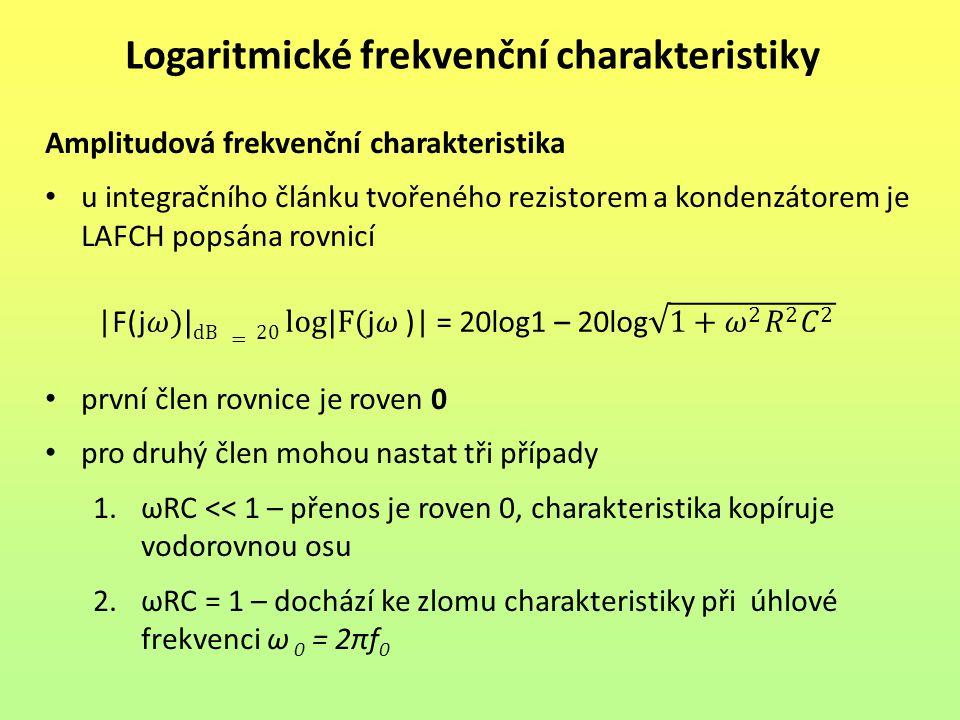 Logaritmické frekvenční charakteristiky Amplitudová frekvenční charakteristika u integračního článku tvořeného rezistorem a kondenzátorem je LAFCH pop
