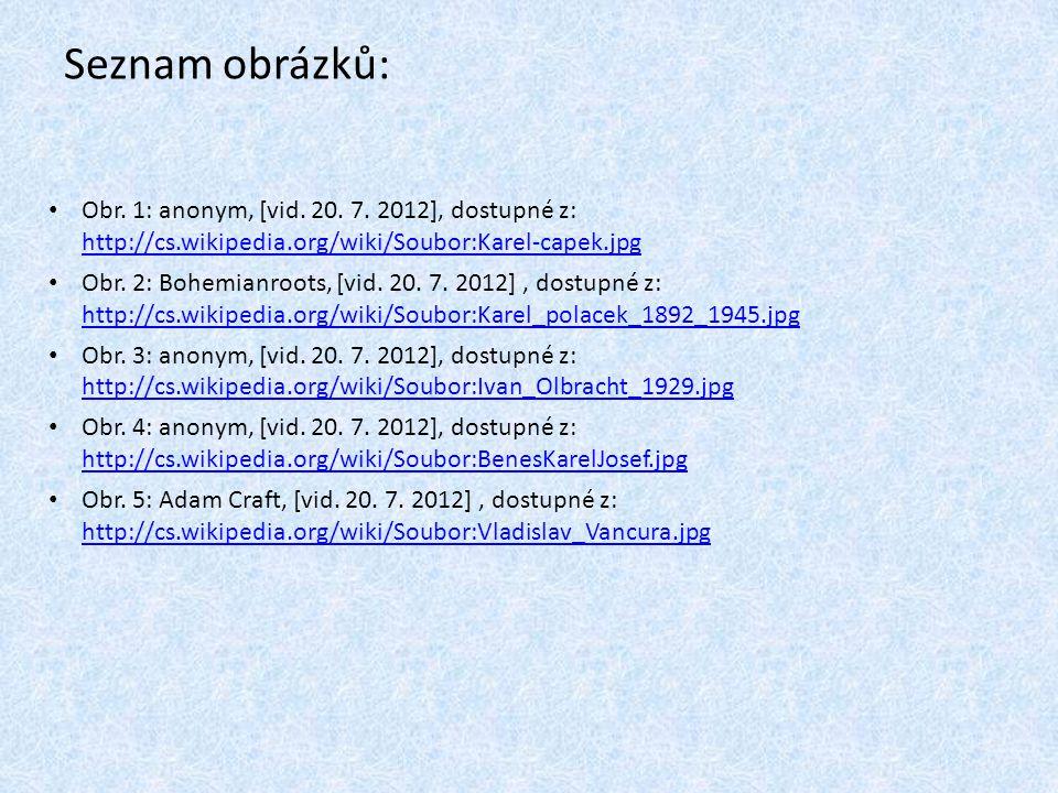 Seznam obrázků: Obr. 1: anonym, [vid. 20. 7. 2012], dostupné z: http://cs.wikipedia.org/wiki/Soubor:Karel-capek.jpg http://cs.wikipedia.org/wiki/Soubo