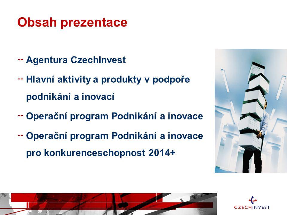 Obsah prezentace Agentura CzechInvest Hlavní aktivity a produkty v podpoře podnikání a inovací Operační program Podnikání a inovace Operační program P