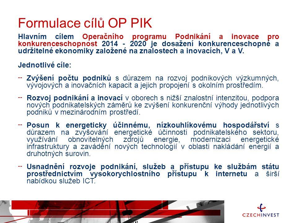 Formulace cílů OP PIK Hlavním cílem Operačního programu Podnikání a inovace pro konkurenceschopnost 2014 - 2020 je dosažení konkurenceschopné a udržit