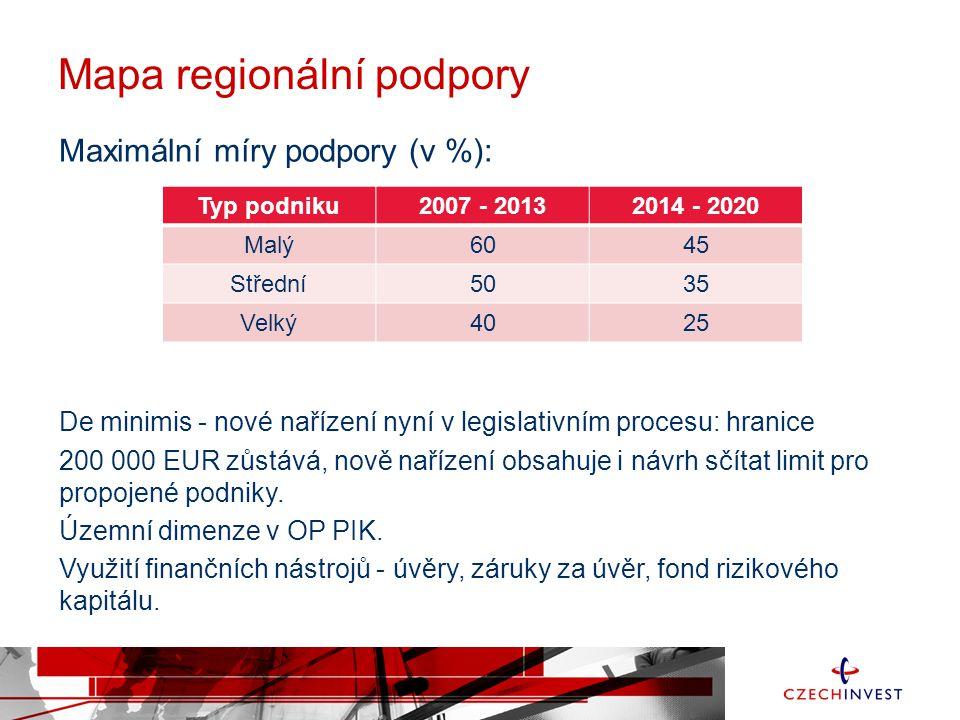 Mapa regionální podpory Maximální míry podpory (v %): De minimis - nové nařízení nyní v legislativním procesu: hranice 200 000 EUR zůstává, nově naříz