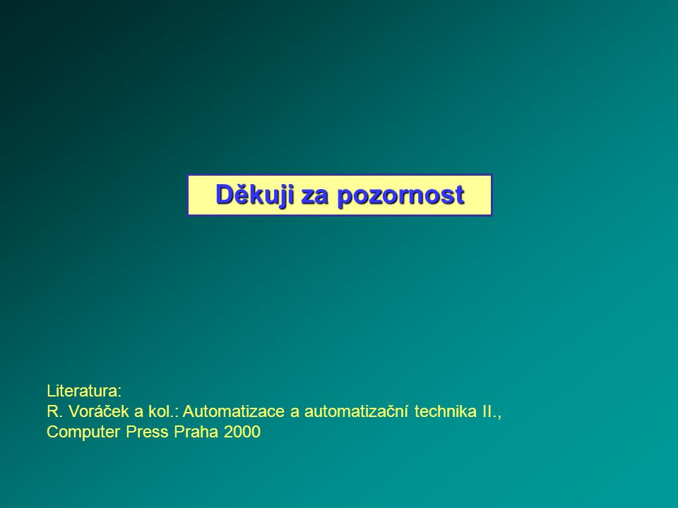 Děkuji za pozornost Literatura: R. Voráček a kol.: Automatizace a automatizační technika II., Computer Press Praha 2000