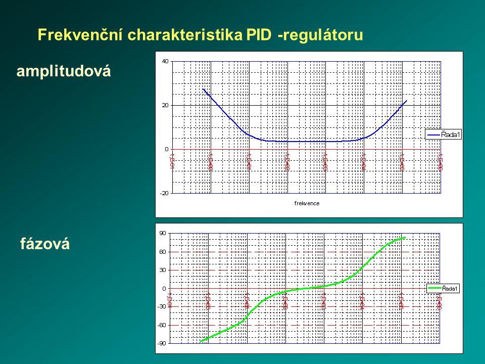 + 20 dB/dek - 20 dB/dek 20 log K p G(j  ) [dB]   amplitudová fázová Frekvenční charakteristika PID -regulátoru