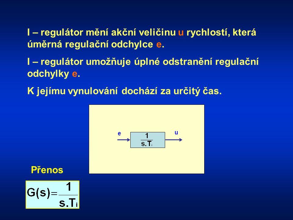 e u I – regulátor mění akční veličinu u rychlostí, která úměrná regulační odchylce e.