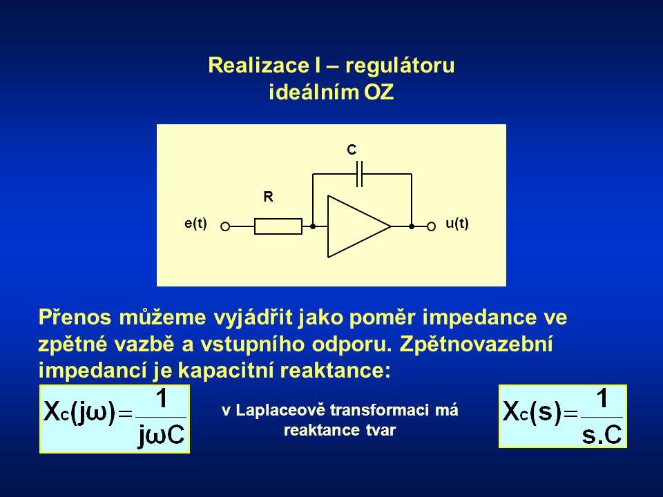 R e(t) C u(t) Realizace I – regulátoru ideálním OZ Přenos můžeme vyjádřit jako poměr impedance ve zpětné vazbě a vstupního odporu. Zpětnovazební imped