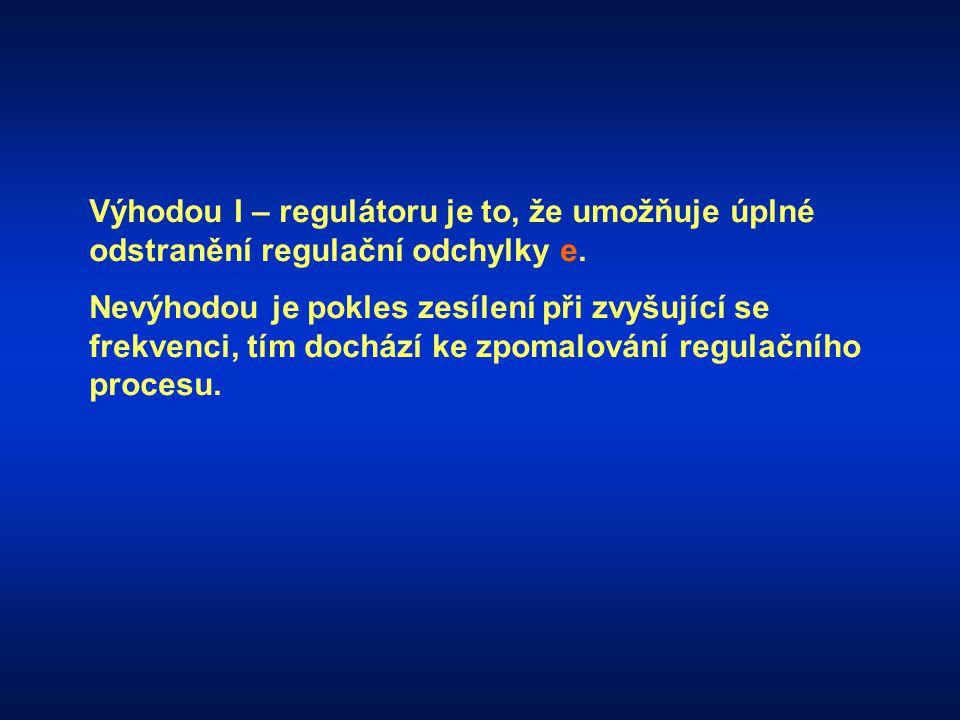 Výhodou I – regulátoru je to, že umožňuje úplné odstranění regulační odchylky e. Nevýhodou je pokles zesílení při zvyšující se frekvenci, tím dochází