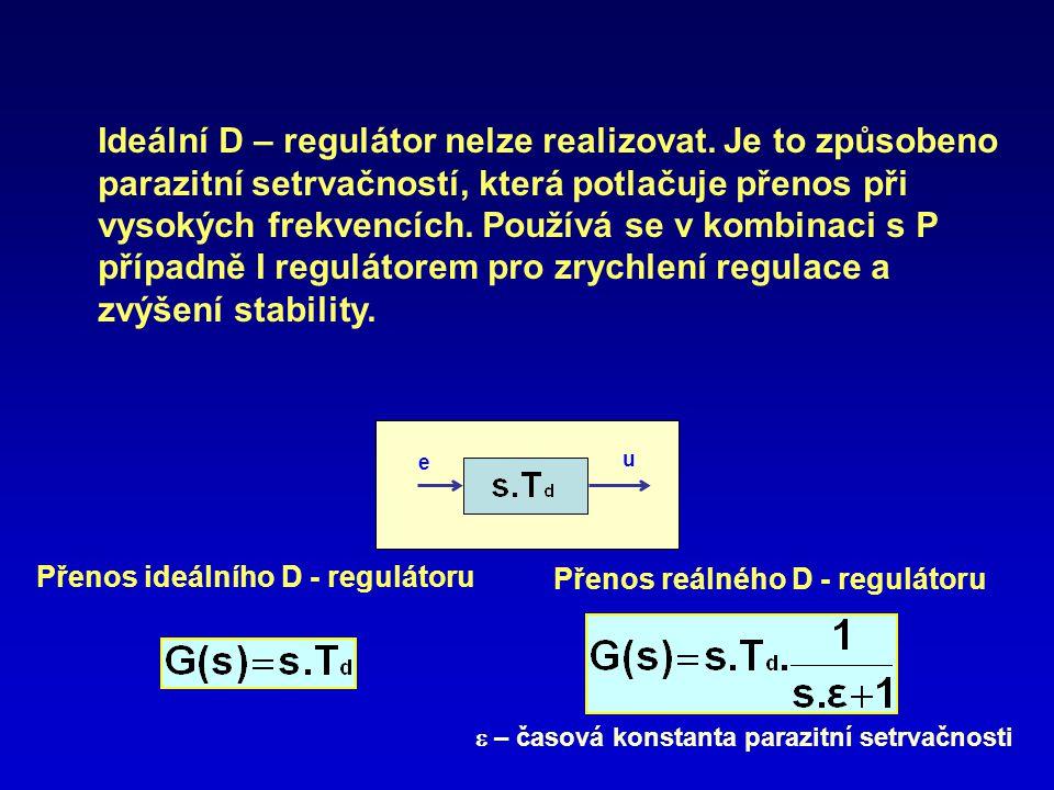 e u Ideální D – regulátor nelze realizovat. Je to způsobeno parazitní setrvačností, která potlačuje přenos při vysokých frekvencích. Používá se v komb