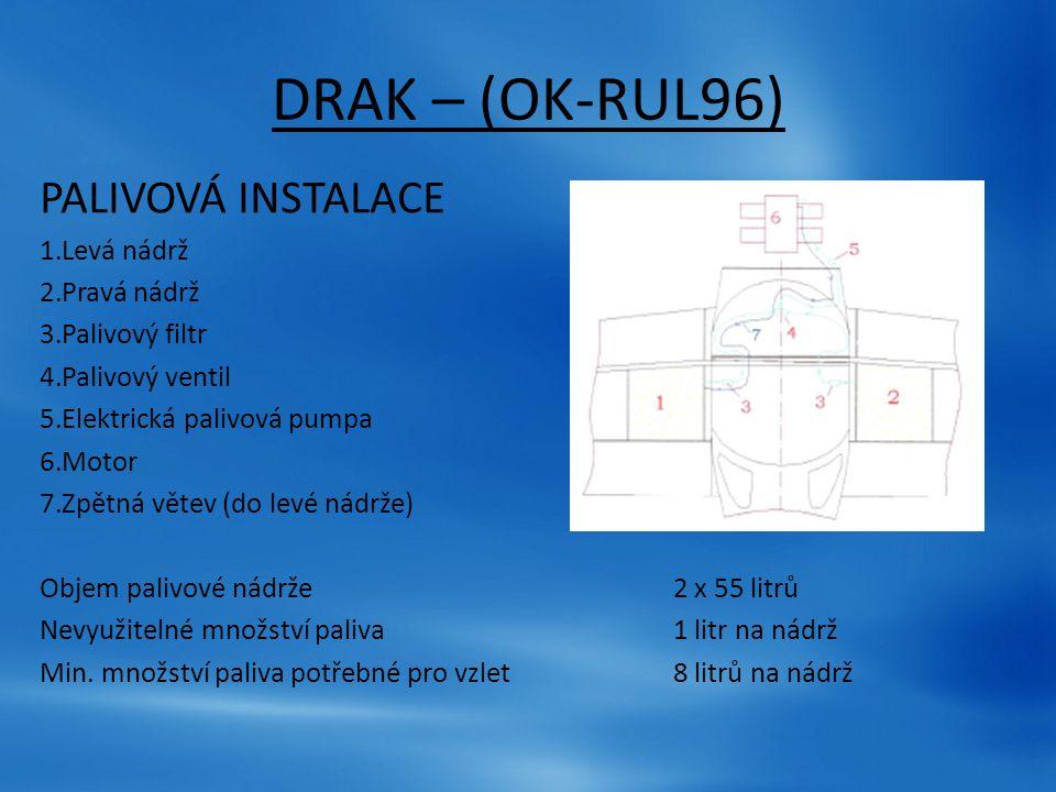DRAK – (OK-RUL96) PALIVOVÁ INSTALACE 1.Levá nádrž 2.Pravá nádrž 3.Palivový filtr 4.Palivový ventil 5.Elektrická palivová pumpa 6.Motor 7.Zpětná větev