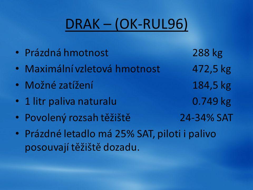 DRAK – (OK-RUL96) Prázdná hmotnost288 kg Maximální vzletová hmotnost 472,5 kg Možné zatížení 184,5 kg 1 litr paliva naturalu 0.749 kg Povolený rozsah