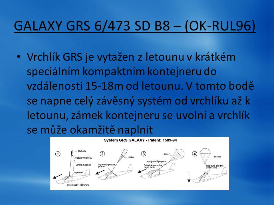 GALAXY GRS 6/473 SD B8 – (OK-RUL96) Vrchlík GRS je vytažen z letounu v krátkém speciálním kompaktním kontejneru do vzdálenosti 15-18m od letounu. V to