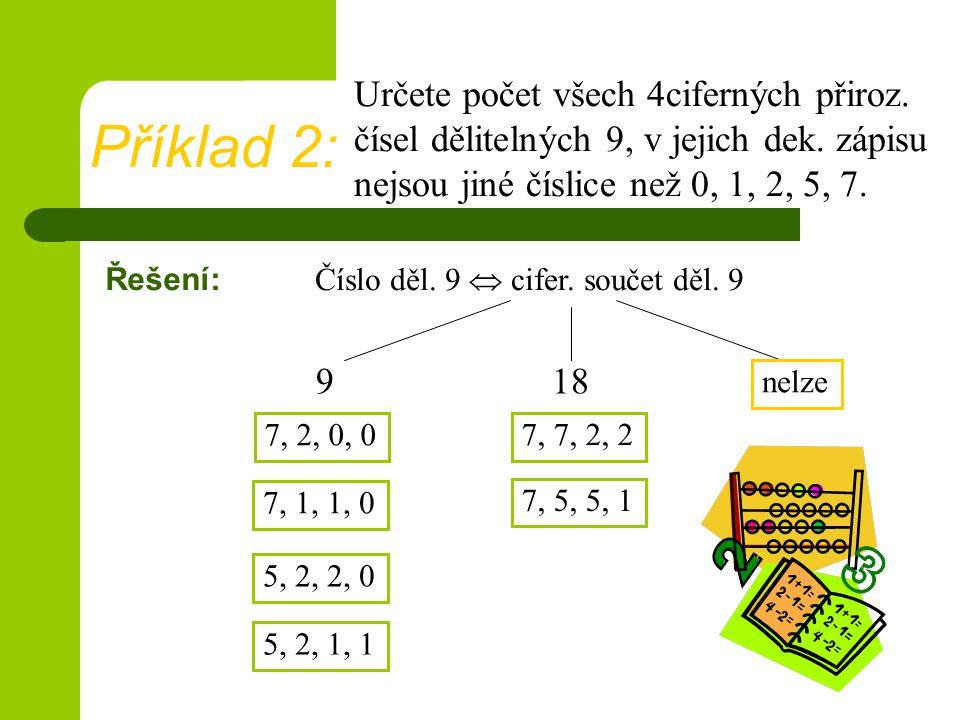 Řešení: 9 Určete počet všech 4ciferných přiroz.čísel dělitelných 9, v jejich dek.