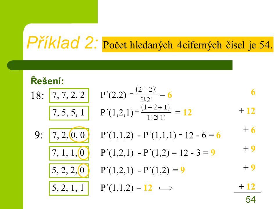 = 12 Řešení: 9: Příklad 2: Počet hledaných 4ciferných čísel je 54.