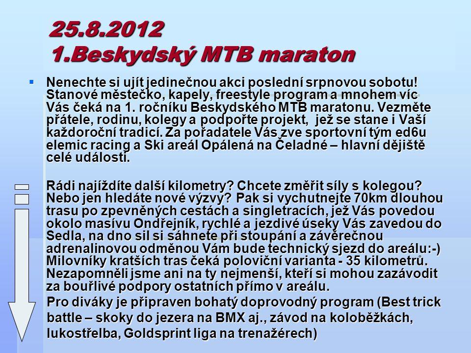 25.8.2012 1.Beskydský MTB maraton  Nenechte si ujít jedinečnou akci poslední srpnovou sobotu.