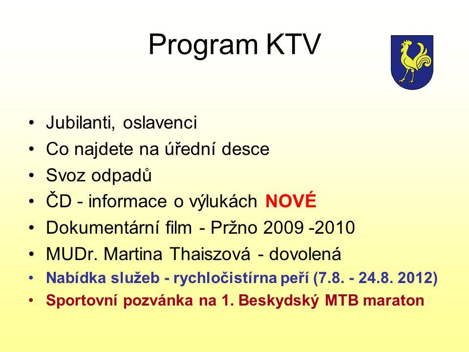 Program KTV Jubilanti, oslavenci Co najdete na úřední desce Svoz odpadů ČD - informace o výlukách NOVÉ Dokumentární film - Pržno 2009 -2010 MUDr.