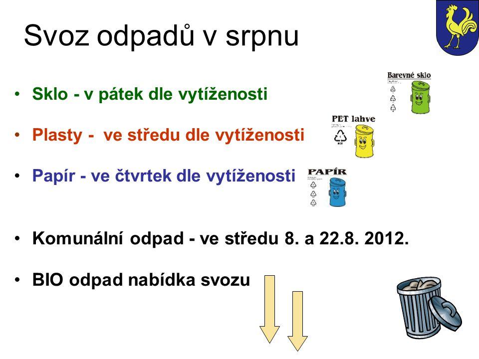 Svoz odpadů v srpnu Sklo - v pátek dle vytíženosti Plasty - ve středu dle vytíženosti Papír - ve čtvrtek dle vytíženosti Komunální odpad - ve středu 8.