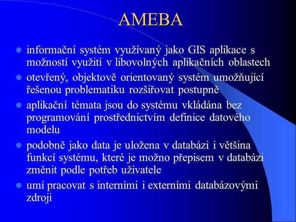 AMEBA informační systém využívaný jako GIS aplikace s možností využití v libovolných aplikačních oblastech otevřený, objektově orientovaný systém umož