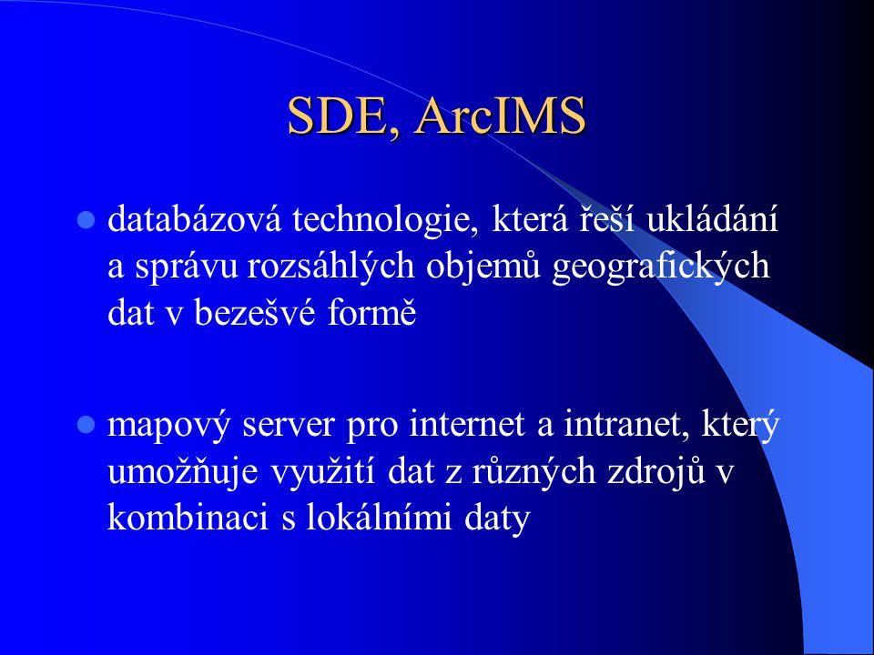 databázová technologie, která řeší ukládání a správu rozsáhlých objemů geografických dat v bezešvé formě mapový server pro internet a intranet, který