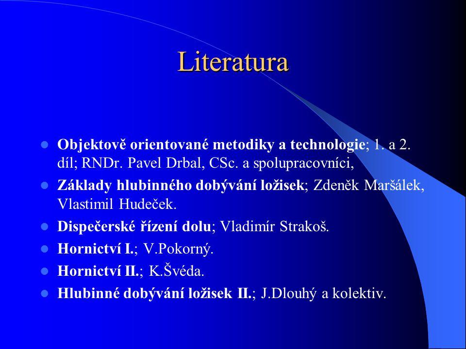 Literatura Objektově orientované metodiky a technologie; 1. a 2. díl; RNDr. Pavel Drbal, CSc. a spolupracovníci, Základy hlubinného dobývání ložisek;