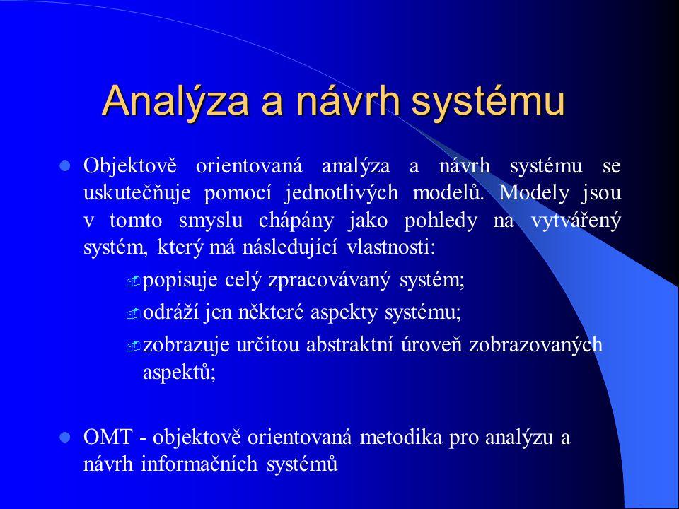 Analýza a návrh systému Objektově orientovaná analýza a návrh systému se uskutečňuje pomocí jednotlivých modelů. Modely jsou v tomto smyslu chápány ja