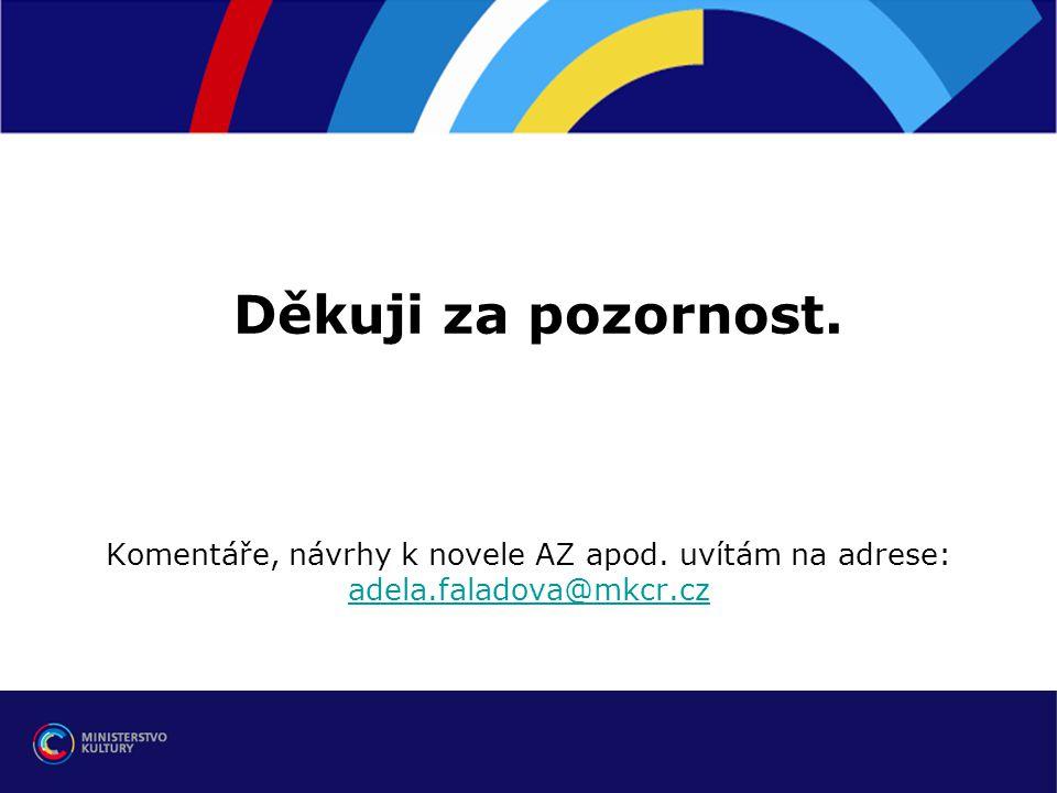 Děkuji za pozornost. Komentáře, návrhy k novele AZ apod. uvítám na adrese: adela.faladova@mkcr.cz adela.faladova@mkcr.cz