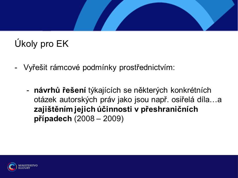 Úkoly pro EK -Vyřešit rámcové podmínky prostřednictvím: -návrhů řešení týkajících se některých konkrétních otázek autorských práv jako jsou např.