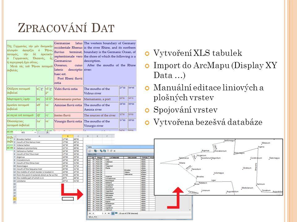 Z PRACOVÁNÍ D AT Vytvoření XLS tabulek Import do ArcMapu (Display XY Data …) Manuální editace liniových a plošných vrstev Spojování vrstev Vytvořena bezešvá databáze