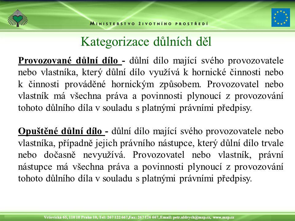 Vršovická 65, 110 10 Praha 10, Tel: 267 122 667,Fax: 267 126 667, Email: petr.uldrych@mzp.cz, www.mzp.cz Provozované důlní dílo - důlní dílo mající svého provozovatele nebo vlastníka, který důlní dílo využívá k hornické činnosti nebo k činnosti prováděné hornickým způsobem.