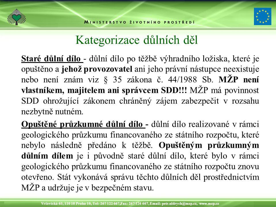 Vršovická 65, 110 10 Praha 10, Tel: 267 122 667,Fax: 267 126 667, Email: petr.uldrych@mzp.cz, www.mzp.cz Kategorizace důlních děl Staré důlní dílo - důlní dílo po těžbě výhradního ložiska, které je opuštěno a jehož provozovatel ani jeho právní nástupce neexistuje nebo není znám viz § 35 zákona č.