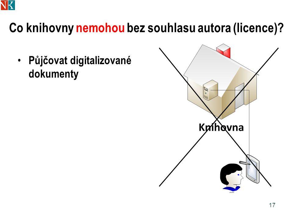 Co knihovny nemohou bez souhlasu autora (licence) Půjčovat digitalizované dokumenty 17