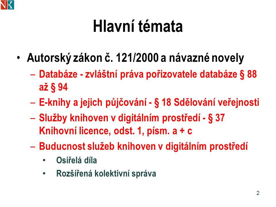 Hlavní témata Autorský zákon č.