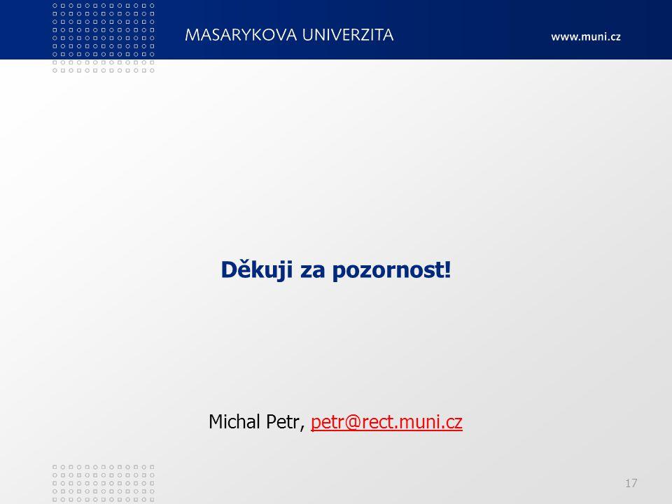 Děkuji za pozornost! Michal Petr, petr@rect.muni.czpetr@rect.muni.cz 17