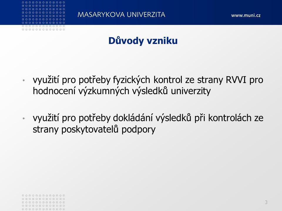 3 využití pro potřeby fyzických kontrol ze strany RVVI pro hodnocení výzkumných výsledků univerzity využití pro potřeby dokládání výsledků při kontrolách ze strany poskytovatelů podpory Důvody vzniku