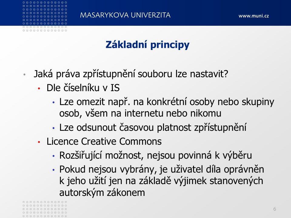 Základní principy Jaká práva zpřístupnění souboru lze nastavit.