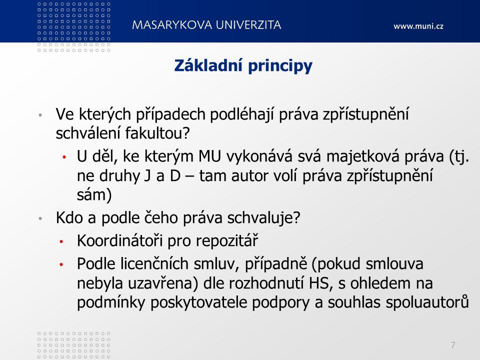 Základní principy Ve kterých případech podléhají práva zpřístupnění schválení fakultou.