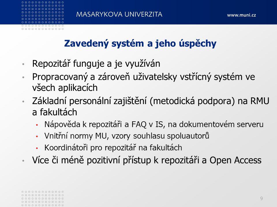 Zavedený systém a jeho úspěchy Repozitář funguje a je využíván Propracovaný a zároveň uživatelsky vstřícný systém ve všech aplikacích Základní personální zajištění (metodická podpora) na RMU a fakultách Nápověda k repozitáři a FAQ v IS, na dokumentovém serveru Vnitřní normy MU, vzory souhlasu spoluautorů Koordinátoři pro repozitář na fakultách Více či méně pozitivní přístup k repozitáři a Open Access 9