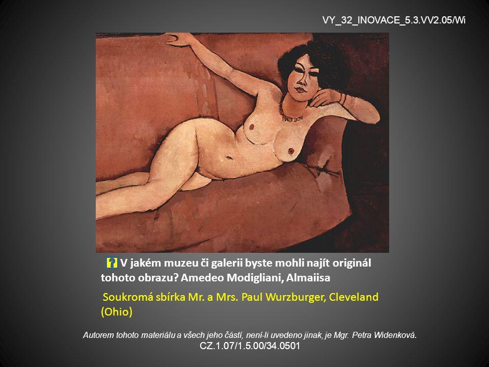 V jakém muzeu či galerii byste mohli najít originál tohoto obrazu? Amedeo Modigliani, Almaiisa Soukromá sbírka Mr. a Mrs. Paul Wurzburger, Cleveland (