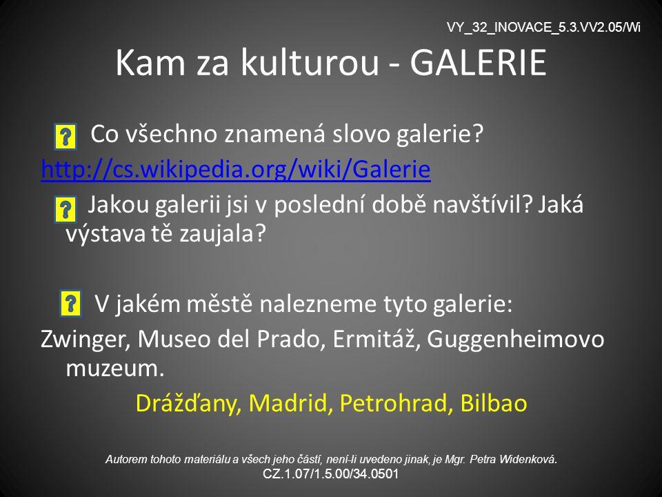 Kam za kulturou - GALERIE Co všechno znamená slovo galerie? http://cs.wikipedia.org/wiki/Galerie Jakou galerii jsi v poslední době navštívil? Jaká výs