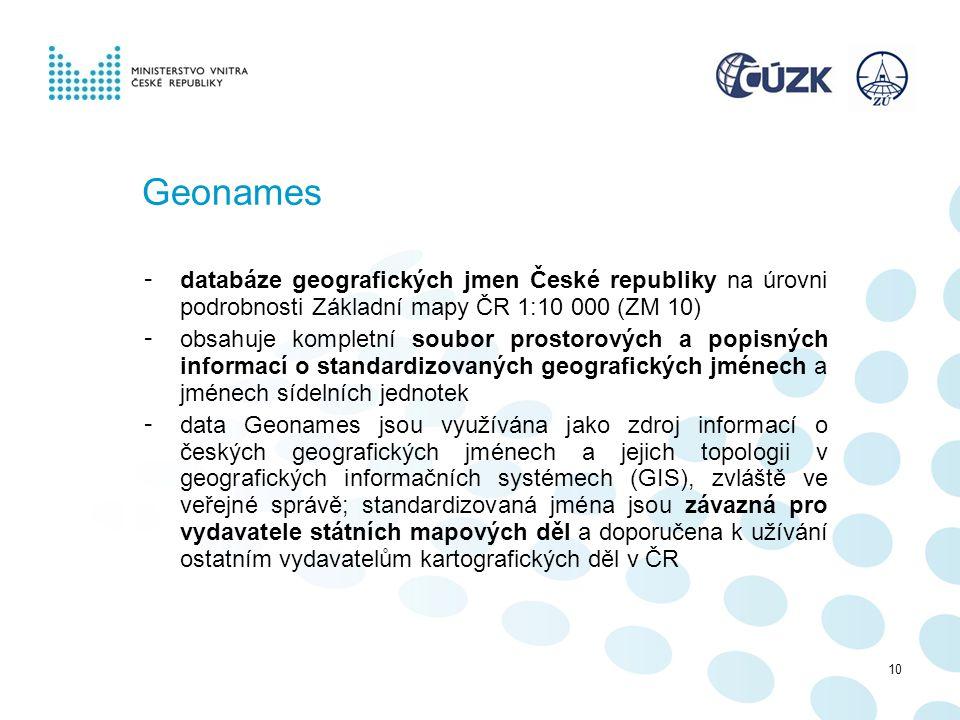 Geonames - databáze geografických jmen České republiky na úrovni podrobnosti Základní mapy ČR 1:10 000 (ZM 10) - obsahuje kompletní soubor prostorovýc