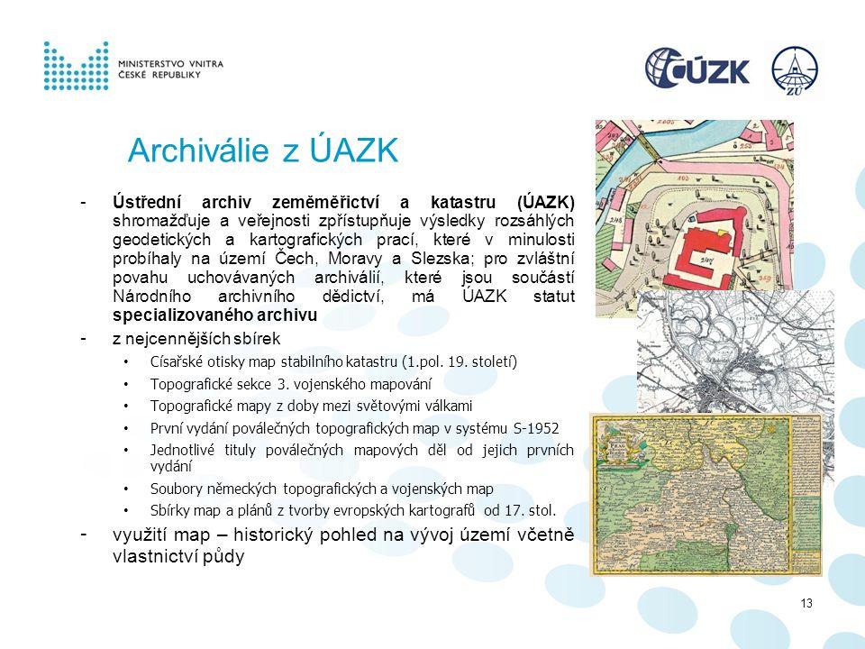 Archiválie z ÚAZK - Ústřední archiv zeměměřictví a katastru (ÚAZK) shromažďuje a veřejnosti zpřístupňuje výsledky rozsáhlých geodetických a kartografi