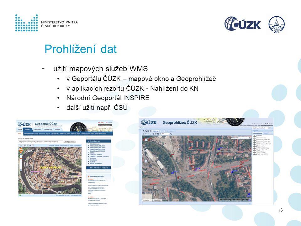 Prohlížení dat - užití mapových služeb WMS v Geportálu ČÚZK – mapové okno a Geoprohlížeč v aplikacích rezortu ČÚZK - Nahlížení do KN Národní Geoportál