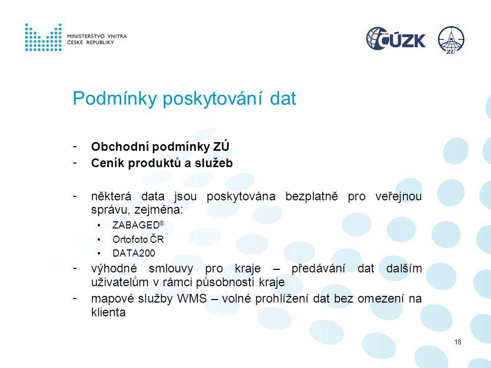 Podmínky poskytování dat - Obchodní podmínky ZÚ - Ceník produktů a služeb - některá data jsou poskytována bezplatně pro veřejnou správu, zejména: ZABA