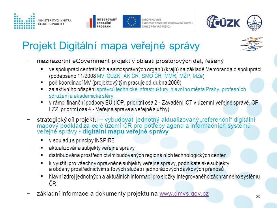 Projekt Digitální mapa veřejné správy − mezirezortní eGovernment projekt v oblasti prostorových dat, řešený  ve spolupráci centrálních a samosprávnýc