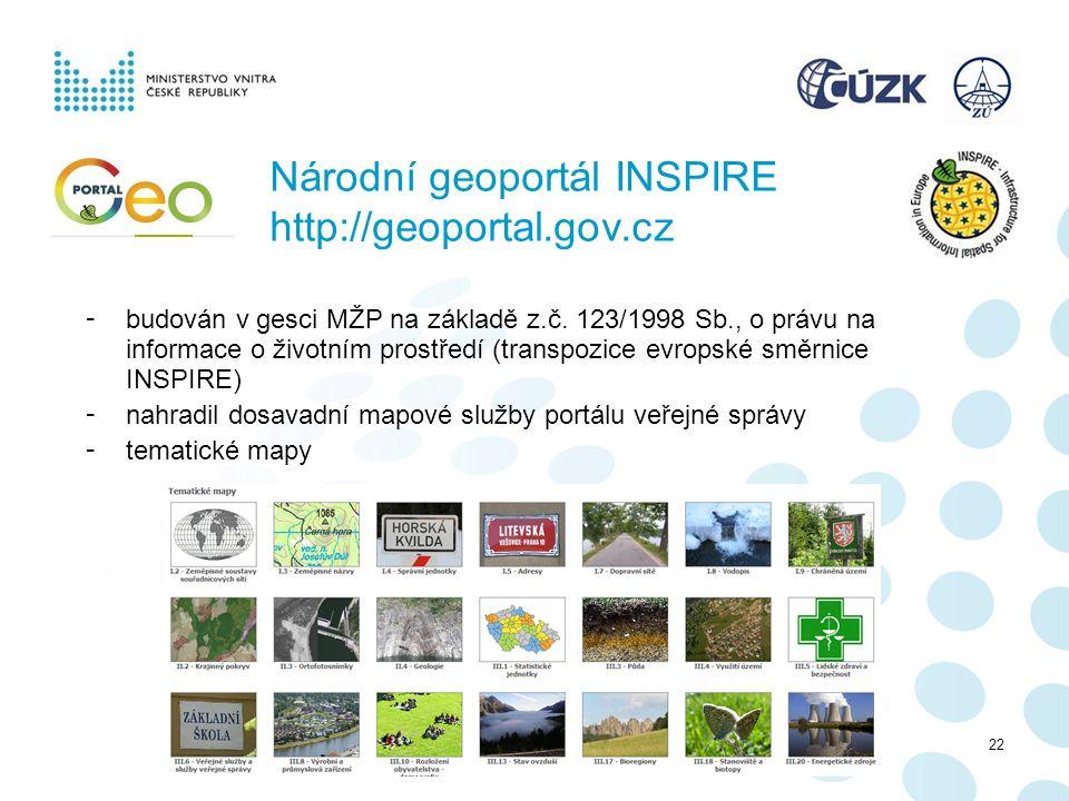 Národní geoportál INSPIRE http://geoportal.gov.cz - budován v gesci MŽP na základě z.č. 123/1998 Sb., o právu na informace o životním prostředí (trans