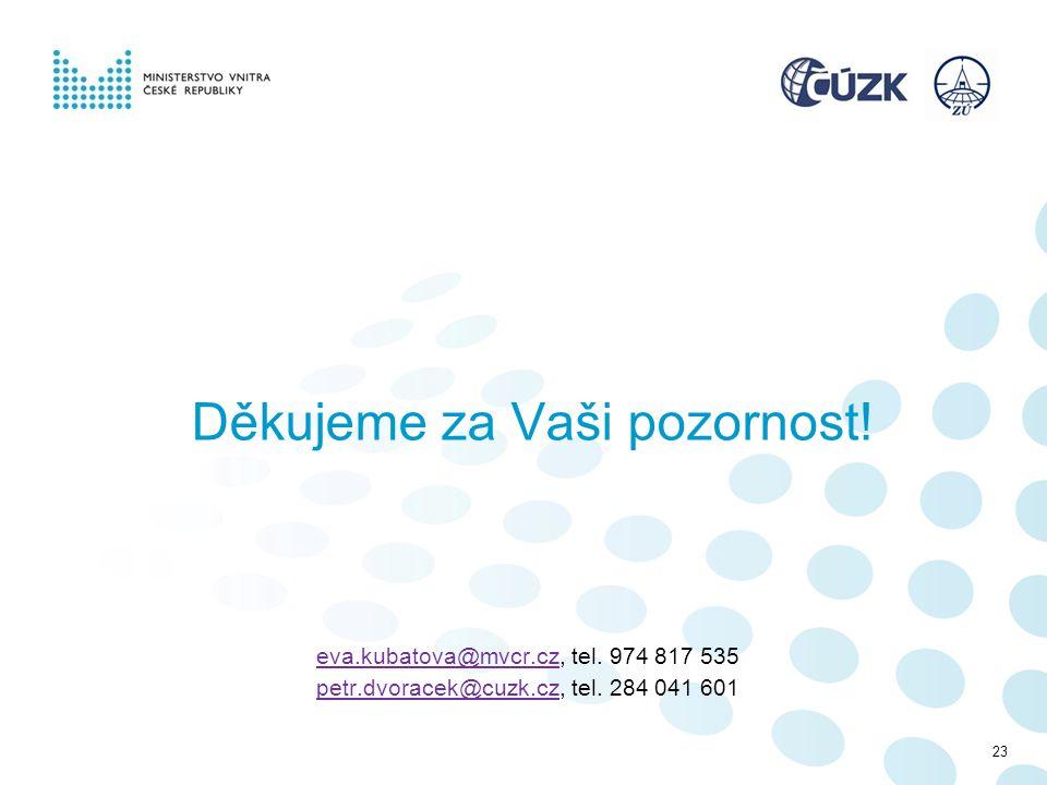 Děkujeme za Vaši pozornost! eva.kubatova@mvcr.czeva.kubatova@mvcr.cz, tel. 974 817 535 petr.dvoracek@cuzk.czpetr.dvoracek@cuzk.cz, tel. 284 041 601 23