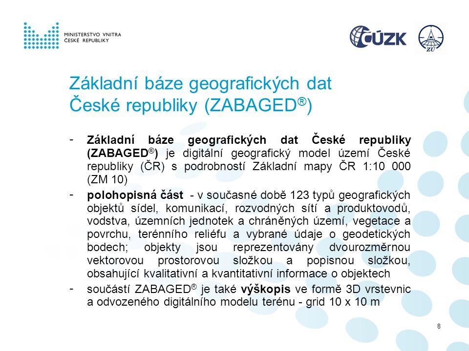 Základní báze geografických dat České republiky (ZABAGED ® ) - Základní báze geografických dat České republiky (ZABAGED ® ) je digitální geografický m