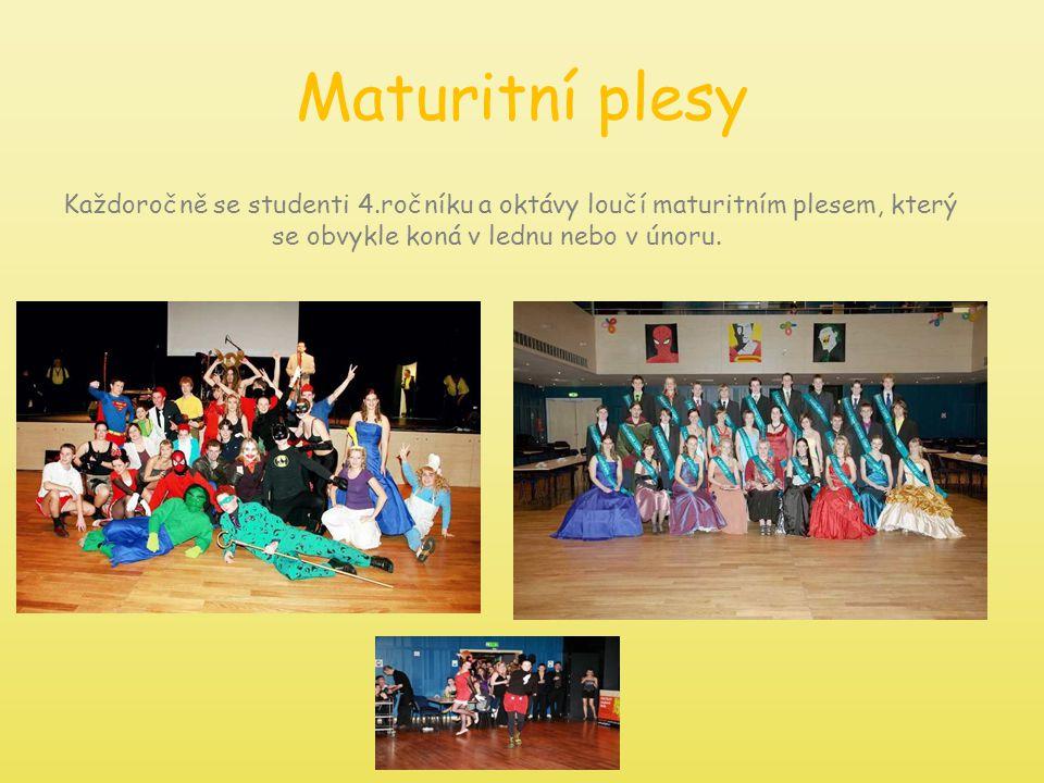 Maturitní plesy Každoročně se studenti 4.ročníku a oktávy loučí maturitním plesem, který se obvykle koná v lednu nebo v únoru.